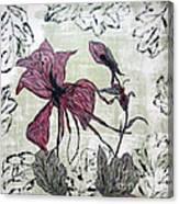 Pink Dragonfly Flora Canvas Print