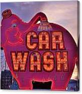 Pink Elephant Car Wash Canvas Print