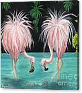 Pink Flamingo Booty Tropical Birds Art Cathy Peek Canvas Print
