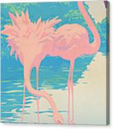 abstract Pink Flamingos retro pop art nouveau tropical bird 80s 1980s florida painting print Canvas Print
