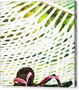 Pink Flip Flops On Backyard Rope Hammock Vintage Scratched Style Canvas Print