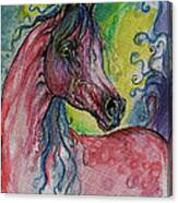 Pink Horse With Blue Mane Canvas Print