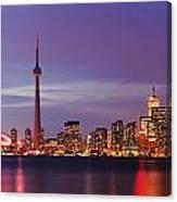 Pink Hour On Toronto Skyline Panorama Canvas Print