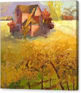 Pink House Yellow Field Canvas Print