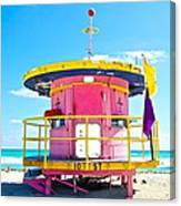 Pink Lifeguard Post Canvas Print