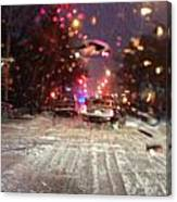Pink Lights In Snowtrax Canvas Print