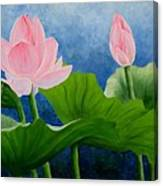 Pink Lotus On Blue Sky Canvas Print