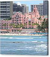 Pink Palace On Waikiki Beach Canvas Print