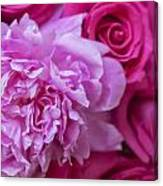 Pink Peonies And Pink Roses Canvas Print