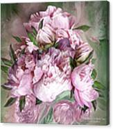 Pink Peonies Bouquet - Square Canvas Print