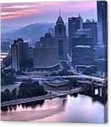 Pink Pittsburgh Morning Canvas Print