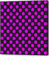 Pink Polka Dots On Black Fabric Background Canvas Print