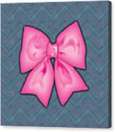 Pink Ribbon Chevron Denim Background Canvas Print
