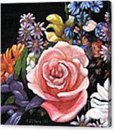 Pink Rose Floral Painting Canvas Print