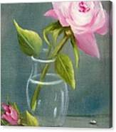 Pink Rose In Glass Canvas Print