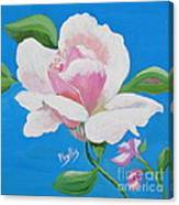 Pink Rose In Paint Canvas Print