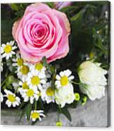 Pink Rose With Daisies Canvas Print