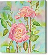 Pink Roses And Bud Canvas Print