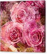 Pink Roses And Pearls Canvas Print