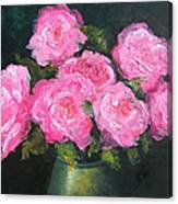 Pink Roses In A Brass Vase Canvas Print