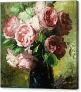 Pink Roses In A Vase Canvas Print