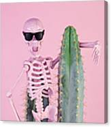 Pink Skeleton With Cactus Canvas Print