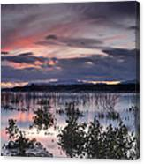 Pink Sunset At The Lake Canvas Print