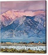 Pink Sunset On Taos Mountain Canvas Print