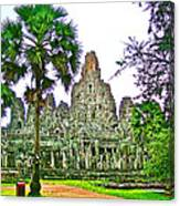 Pink Tower In The Bayon In Angkor Thom In Angkor Wat Archeological Park Near Siem Reap-cambodia Canvas Print