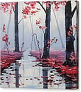 Pink Trees River Landscape Canvas Print