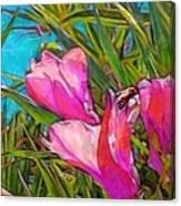 Pink Tropical Flower With Honeybee - Vertical Canvas Print