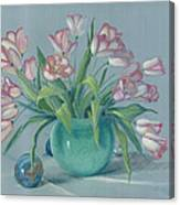 Pink Tulips In Green Vase Canvas Print