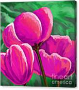 Pink Tulips On Green Canvas Print