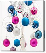 Pink White And Blue Christmas Canvas Print