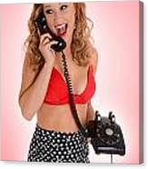 Pinup Girl On The Phone Canvas Print