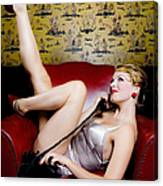 Pinup Girl With Phone Canvas Print