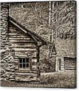 Pioneer Cabin And Shed In Cades Cove E227 Canvas Print