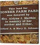 Pioneer Farm Park Plaque At Andersonville Georgia Canvas Print