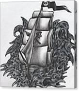 Pirate Ship Bw Canvas Print