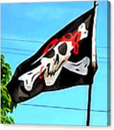 Pirate Ship Flag Of The Skull And Crossbones Canvas Print