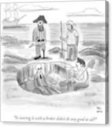 Pirates Stand Around A Dug Up Treasure Chest Canvas Print