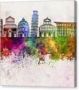 Pisa Skyline In Watercolor Background Canvas Print