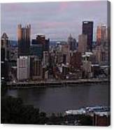 Pittsburgh Aerial Skyline At Sunset 3 Canvas Print