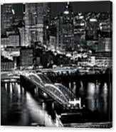 Pittsburgh Black And White  Canvas Print