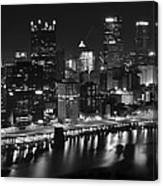 Pittsburgh Black And White Night Canvas Print