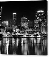 Pittsburgh Black And White Panorama Canvas Print