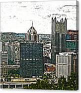 Pittsburgh Panorama Artistic Brush Canvas Print