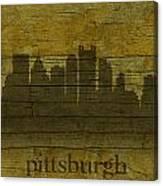 Pittsburgh Pennsylvania City Skyline Silhouette Distressed On Worn Peeling Wood Canvas Print