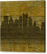 Pittsburgh Pennsylvania City Skyline Silhouette Distressed On Worn Peeling Wood No Name Version Canvas Print