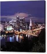 Pittsburgh Skyline At Night From Mount Washington 3 Canvas Print